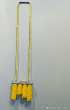 "Eleni Roumpou – ""Elpida"" (Hope, 2012). Necklace. Silver 925, fabric, cardboard, acrylic paint, glue. Photo by Eleni Roumpou"