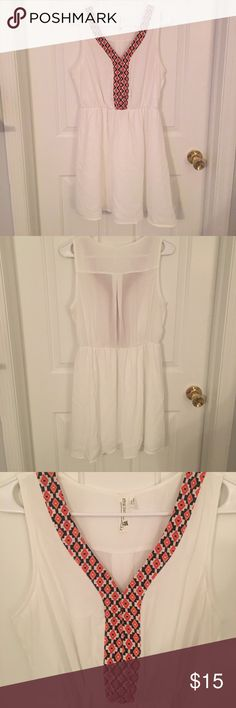 Sheer white dress Cute patterned dress that is perfect for spring! Only worn once! If you have any questions please ask! pink owl Dresses Mini