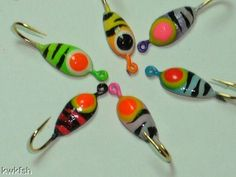 Flutterfly crappie walleye spinner jigs 6 pieces for Best ice fishing lures for panfish