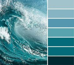 Ocean blue and teal color inspired. Find color inspiration ideas for your home. Blue and teal color palette , ocean inspired bedroom color Ocean Inspired Bedroom, Ocean Bedroom, Blue Bedroom, Bedroom Paint Colors, Wall Colors, Pantone, Blue Colour Palette, Teal Color Schemes, Colour Palettes