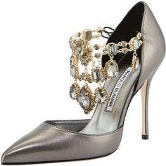 Shoe of the Day: Manolo Blahnik Zullin Crystal-Draped d'Orsay Pump Stilettos, Pumps Heels, High Heels, Charles James, Balenciaga, Manolo Blahnik Heels, Rhinestone Shoes, Jeweled Sandals, Fashion Heels