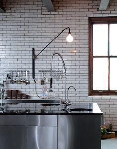 industrial, white tiles