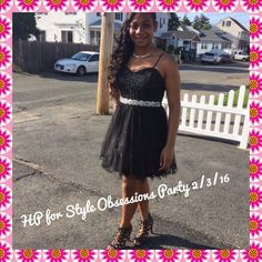 HPLike New The Little Black Dress HP for Style Obsessions by taammers69 on 2/3/16 Little black dress.  Worn once.  Thin spaghetti straps with chiffon overlay with sparkles.  A bling belt around waist that is attached.  Size 9.  Excellent condition. Dresses