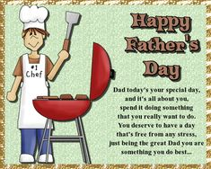 Wish dad a happy Father's Day with this quirky card. Free online A Day Free From Stress ecards on Father's Day Fathers Day Ecards, Happy Fathers Day, Wishes For You, Day Wishes, Showing Gratitude, Have A Day, Dad Birthday, Feeling Special, Name Cards