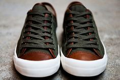 Black Leather sneakers with Brown cap toe, Mens Fall Winter Fashion.