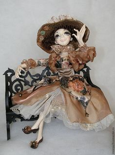 Купить ЛИЛИЯ - коричневый, отличный подарок, авторская ручная работа, авторская кукла, подарок на свадьбу