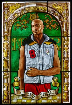 Kehinde Wiley reimagines old portraits because 'if Black Lives Matter, they deserve to be in paintings' (Arms of Nicolaas Ruterius, Bishop of Arras, stained glass portrait by Kehinde Wiley, European Art, Kehinde Wiley, Seattle Art, Painting, Stained Glass, Art, Old Portraits, Seattle Art Museum, Art History