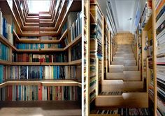 Bookshelf stairs - economical space consideration and also convenient to reach the top shelves!