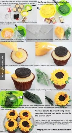 sunflower wedding theme, wedding cupcakes… Wedding ideas for brides, g… - Birthday Cupcake Ideen Sunflower Cupcakes, Sunflower Party, Sunflower Baby Showers, Sunflower Cake Ideas, Daisy Cupcakes, Cupcake Cupcake, Sunflower Weddings, Birthday Cupcakes, Country Cupcakes