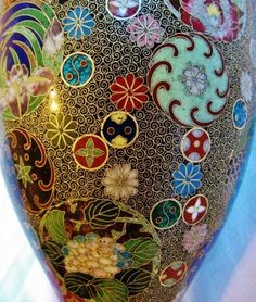 Chinese Cloisonne Vase - Gold Colored
