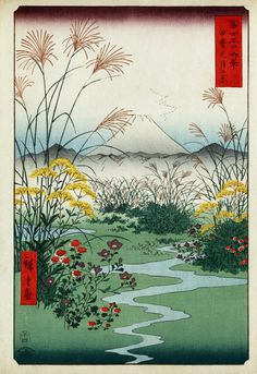 Kai outsuki no hara (Otsuki fields in Kai Province). Ukiyo-e print shows wild flowers and a small brook in a field, with mountains and a view of Mount Fuji in the background. Color woodcut by  Andō Hiroshige. No. 31 in the series Meisho Yedo Hiakkei (Thirty-six Views of Mount Fuji), 1858.  From the Japanese Fine Prints Collection at the Library of Congress More Hiroshige woodcuts | More Japanese fine prints [PD] This picture is in the public domain.