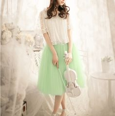 Adorable green tulle skirt