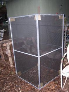 Simple cage made of door screens. Maybe a little more realistic to try first :-)