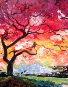 Under the Red Tree - http://www.paintnite.com - #PaintNite #Trees #Color #Creativity #Art #Pink