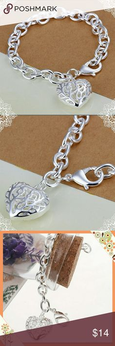 BOGO Sterling Silver Sweetheart Heart Bracelet BOGO free all jewelry!  Buy one piece of jewelry and get the second piece of equal or lesser value for free!  Beautiful Sterling silver hollow heart sweetheart bracelet.  8 inches Long - perfect for weddings, bridal party gifts or just a little something special!   A must have for your closet! Jewelry Bracelets