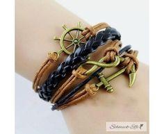 Armband Anker & Infinity braun schwarz   im Organza Beutel