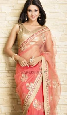 Peach saree.