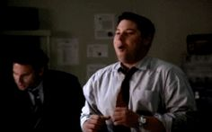 "Weiss dancing gif - Season 2 Episode ""Getaway"".  Vaughn just got a date for dinner with Sydney."