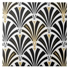 Art Deco fan pattern - black and white Tiles | Zazzle