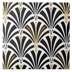 Teste padrão do fã do art deco - preto e branco azulejos de cerâmica