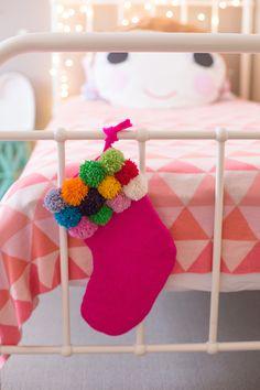 Pom pom Christmas stocking