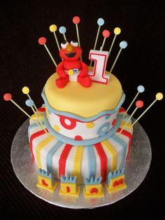 Baby Elmo cake for my friend's little guy's birthday