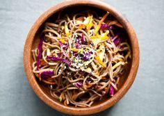 Soba Noodle Salad Mix 1 Tbsp. Sriracha, 1 Tbsp. canola oil, 1 Tbsp. rice vinegar, and 1 Tbsp. sesame oil in a large bowl. Toss with one 8-oz...