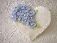 Felt Flower Brooch Pin Heart Valentine's Day Baby Blue Felted Wool Applique pennysbykristie
