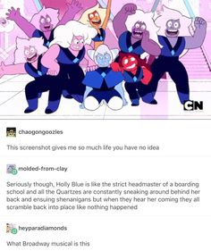 Holly Blue Agate, Skinny Jasper, Carnelian and Famethysts Steven Universe Theories, Steven Universe Funny, Lapidot, Thats The Way, Best Shows Ever, Cartoon Network, Anime Manga, A Team, Believe
