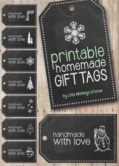 Handmade Chalkboard Christmas Gift Tags   Free Printable from Little Monkeys Crochet