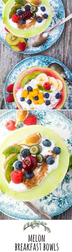 Melon Breakfast Bowls are colorful, healthy, and fun --- you simply can't have a bad day when you start it with creamy yogurt piled in half a melon and topped with more fruit.go ahead, eat your bowl, it's good for you! Vegetarian Breakfast, Savory Breakfast, Sweet Breakfast, Breakfast Bowls, Breakfast Recipes, Milk Shakes, Good Morning Breakfast, Vegan Yogurt, Green Fruit