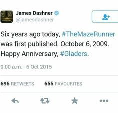 Happy anniversary for two days ago Newt Maze Runner, Maze Runner Series, Good Books, My Books, Ender's Game, James Dashner, Home For Peculiar Children, The Scorch Trials, A Series Of Unfortunate Events
