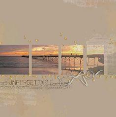 scrap clean & simple paysage mer coucher soleil