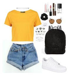 """""""90's"""" by perlchenmerlchen ❤ liked on Polyvore featuring NIKE, Boohoo, Puma, Ray-Ban, Miss Selfridge, Rina Limor, Kenneth Jay Lane, MAC Cosmetics, Tom Ford and Physicians Formula"""