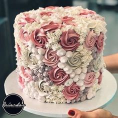If you are thinking about which cake to order for you baby then here is a list of birthday cake ideas! Cake Decorating Frosting, Creative Cake Decorating, Cake Decorating Designs, Birthday Cake Decorating, Cake Decorating Techniques, Creative Cakes, Buttercream Cake Designs, Buttercream Rosette Cake, Pink Rosette Cake