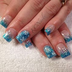 'Tis the Season. Winter acrylic nails. Blue and silver fade with stamped white snowflakes and crystals. KCNails