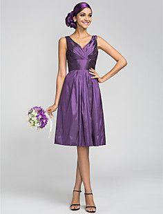 A-line V-neck Knee-length Taffeta Bridesmaid Dress (663650) – USD $ 99.99
