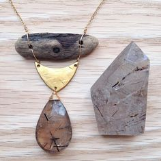 rutilated smoky quartz with driftwood by •hush• | jewels △▽△▽ ELEMENTALITY