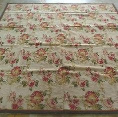 Handmade Floral Roses Wool Needlepoint Area Rug~New~Free Shipping Worldwide