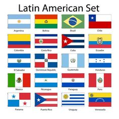 Set of 20 'Latin' American Flags. Central and South America countries. North America Flag, South America Map, America Continent, Central America, World Country Flags, Flags Of The World, Latin American Flags, Flags Of European Countries, Spanish Flags
