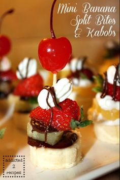 I am having a ball making mini desserts and also seeing what I can put on a kabob. Food tastes so good when you have it in mini portions, and for me, I can control myself better with mini bites. No...