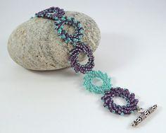 Purple & Green Beaded Bracelet  St by BeauBellaJewellery on Etsy #jewelry #handmade #beadwork #etsy #bracelet #green #purple #unique