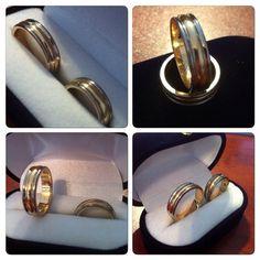 Argollas de matrimonio de Oro blanco y Oro amarillo #hechura #hechoamano