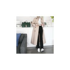 Double-Breasted Long Trench Coat with Belt (€73) ❤ liked on Polyvore featuring outerwear, coats, women, long belted coat, long coat, long trench coat, grey trench coat and beige trench coat