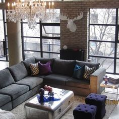Grey Sectional Design Ideas, 2 foot stools in front of coffee table