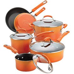 Rachael Ray 10-Piece Porcelain Enamel Non-Stick Cookware Set  I just purchased this set for $31 from WalMart. Orange is my favorite color.