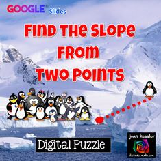 Finding the Slope from Two Points Digital Puzzle with GOOGLE Slides™ Interactive Activities, Precalculus, 8th Grade Math, Algebra, Distance, High School, Puzzle, Teaching