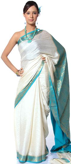 Ivory and Turquoise Pure Mysore Silk Sari with Self Weave