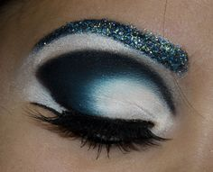 Teal, White, Black, & Glitter.