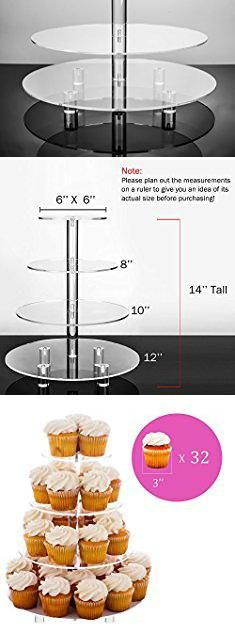 Cupcake Serving Stand. Jusalpha 4 Tier Acrylic Glass Round Cake Stand-cupcake Stand- Dessert Stand-tea Party Serving Platter for Wedding Party(4TR) (With Rod Feet). #cupcake #serving #stand #cupcakeserving #servingstand